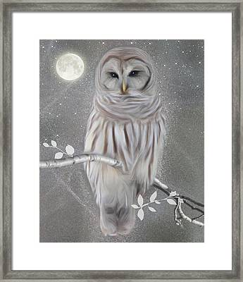 Framed Print featuring the digital art Winter Owl by Nina Bradica