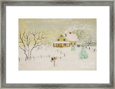 Winter Painting Of House With Mailbox/ Digitally Altered Framed Print by Sandra Cunningham