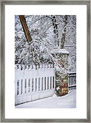 Winter Park Fence Framed Print by Elena Elisseeva