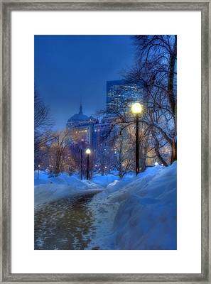 Winter Path - Boston Public Garden Framed Print by Joann Vitali
