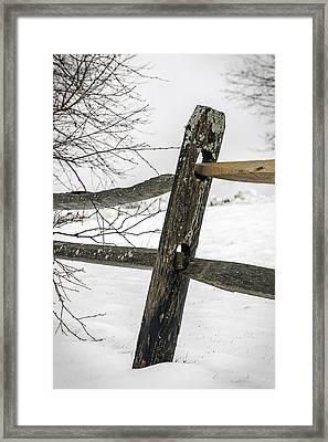 Winter Rail Fence Framed Print