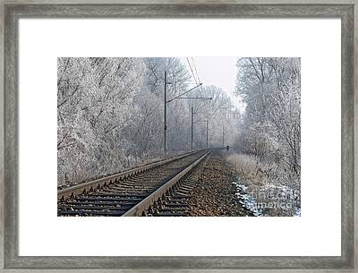 Winter Railroad Framed Print by Martin Capek