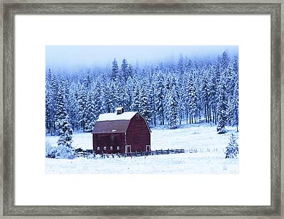 Winter Red Barn Framed Print by Mark Kiver
