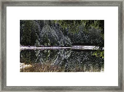 Framed Print featuring the pyrography Winter Reflection by Timothy Latta