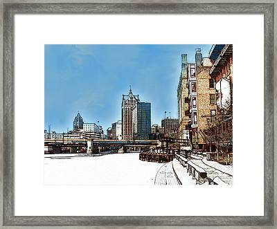 Winter River Walk In Milwaukee Wisconsin Framed Print by David Blank