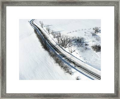 Winter Road. Chemin Cross Loop South Of Wakefield Quebec. Framed Print by Rob Huntley