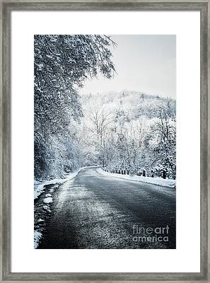 Winter Road In Forest Framed Print by Elena Elisseeva