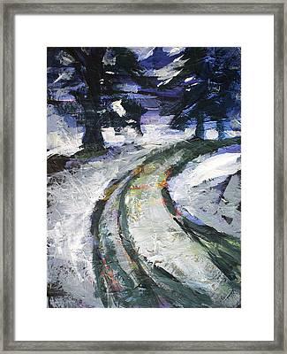 Winter Road Framed Print by Nancy Merkle