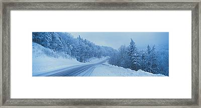 Winter Road Nh Usa Framed Print