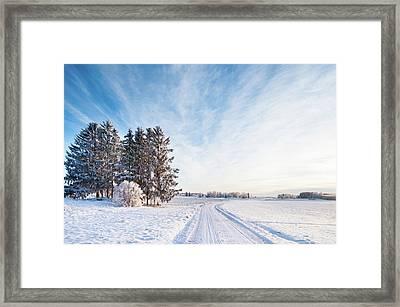 Winter Road Through Sweden Framed Print by Lkpgfoto