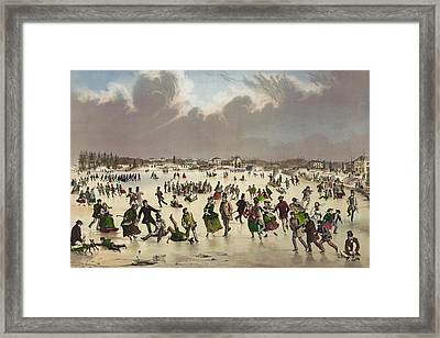 Winter Scene Circa 1859 Framed Print by Aged Pixel