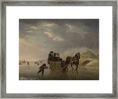Winter Scene, Horse-sleigh On The Ice, Andries Vermeulen Framed Print by Litz Collection