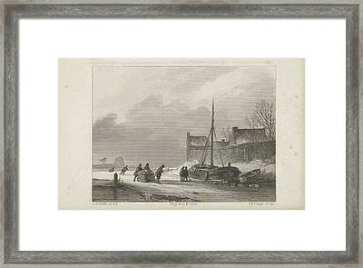 Winter Scene, Johannes Philippus Lange, Koenraad Fuhri Framed Print by Quint Lox