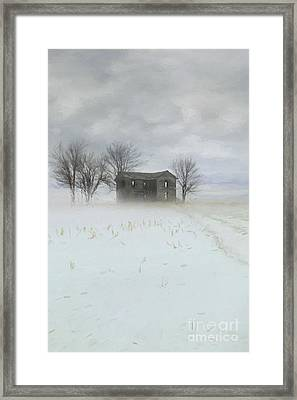 Winter Scene Of A Farmhouse/digital Painting Framed Print by Sandra Cunningham