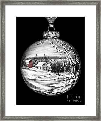 Winter Scene Ornament Red Barn  Framed Print