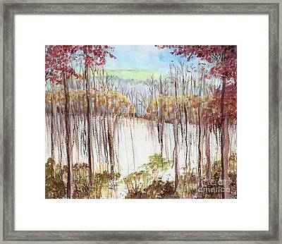 Framed Print featuring the painting Winter Scene Tracks by Christina Verdgeline