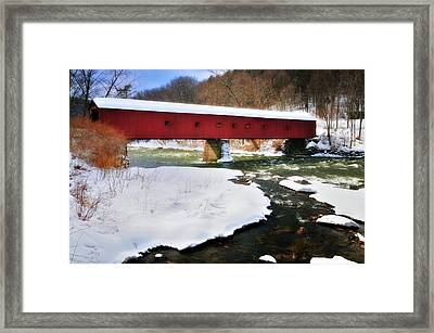 Winter Scene-west Cornwall Covered Bridge Framed Print by Thomas Schoeller