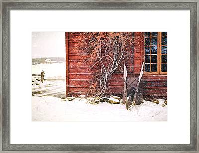 Framed Print featuring the photograph Winter Scene With Barn And Wheelbarrow/ Digital Painting  by Sandra Cunningham