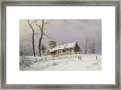 Winter Scene With Figures On A Path Near A Church Framed Print by Nils Hans Christiansen