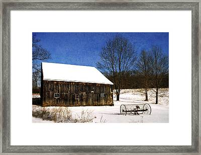 Winter Scenic Farm Framed Print