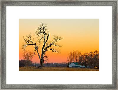 Winter Season Country Sunset Framed Print