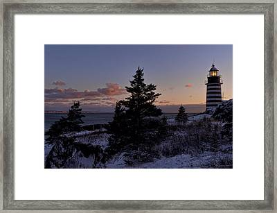 Winter Sentinel Lighthouse Framed Print
