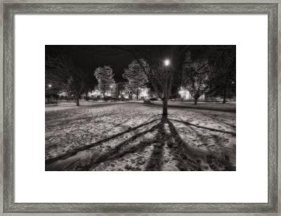 Winter Shadows And Xmas Lights Framed Print
