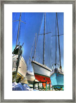 Winter Shipyard Framed Print
