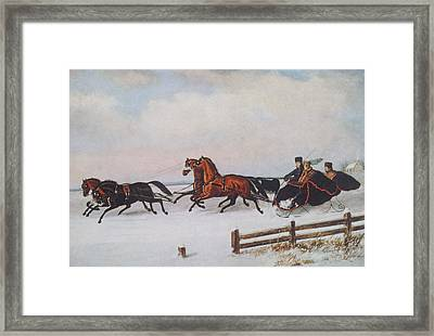 Winter Sleigh Framed Print by Cornelius Krieghoff