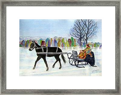 Framed Print featuring the painting Winter Sleigh Ride by Carol Flagg