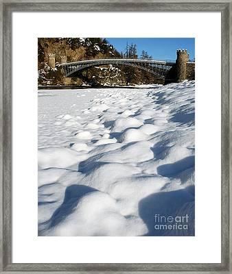Winter Snow Craigellachie Bridge Scotland Framed Print by John Kelly