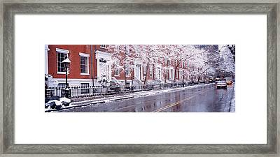 Winter, Snow In Washington Square, Nyc Framed Print