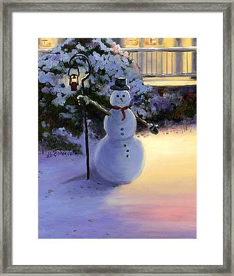 Winter Snow Man Framed Print by Cecilia Brendel