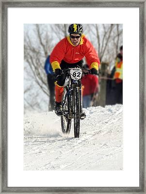 Winter Snow Mountain Bike Race Framed Print by Darleen Stry