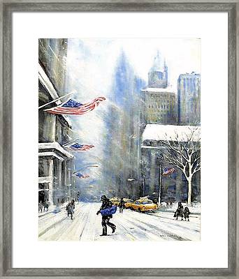 Winter Snow Nyc Framed Print