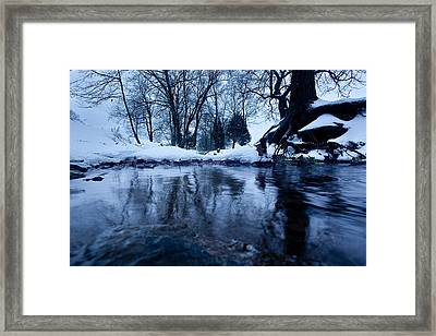 Winter Snow On Stream Framed Print