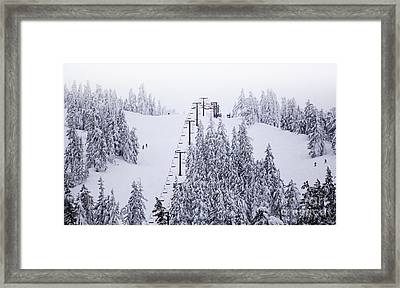 Winter Snow Ski Down The Mountain Red Chairlift To The Top Framed Print