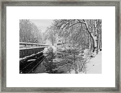 Winter Snow Storm In Somesville Maine Framed Print by Keith Webber Jr