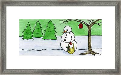 Winter Snowman Framed Print by Norma Appleton