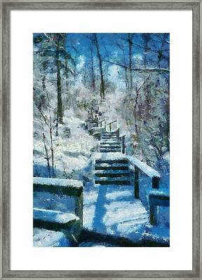 Winter Stairway Framed Print
