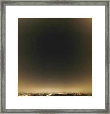 Winter Stars And Light Pollution Framed Print
