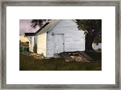 Framed Print featuring the painting Winter Stores by Tom Wooldridge