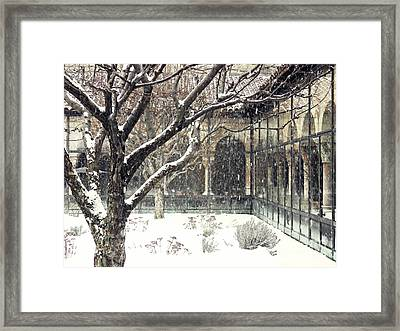 Winter Storm At The Cloisters 3 Framed Print