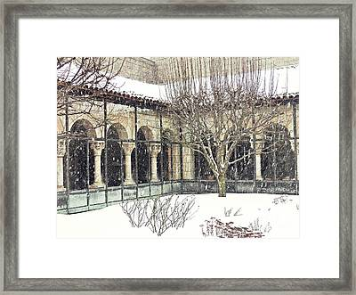 Winter Storm At The Cloisters 4 Framed Print