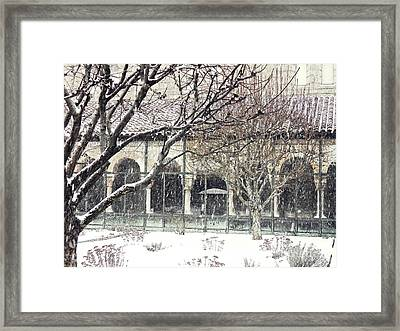 Winter Storm At The Cloisters 5 Framed Print