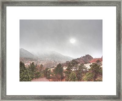 Winter Storm In Summer With Sun Framed Print