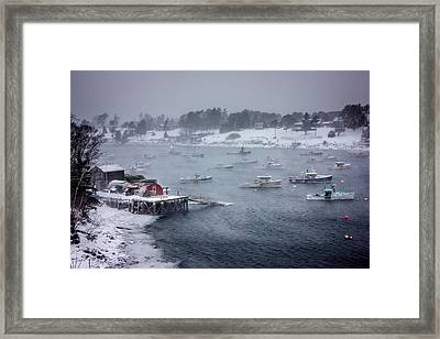 Winter Storm On Mackerel Cove Framed Print by Benjamin Williamson
