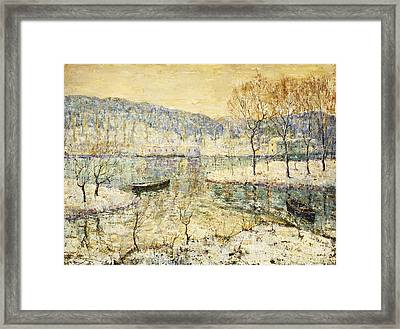 Winter Stream Framed Print by Ernest Lawson