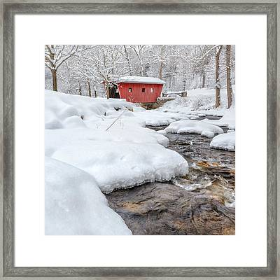 Winter Stream Square Framed Print