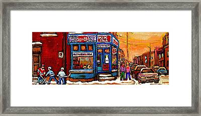 Winter Stroll Beautiful Sunny Day Montreal Street Scene  - Verdun Depanneur Hockey City Scene  Framed Print